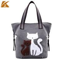 K TWO Fashion Women Handbags Casual Canvas Handbags Women Messenger Bags Large Capacity Cat Printed Bags