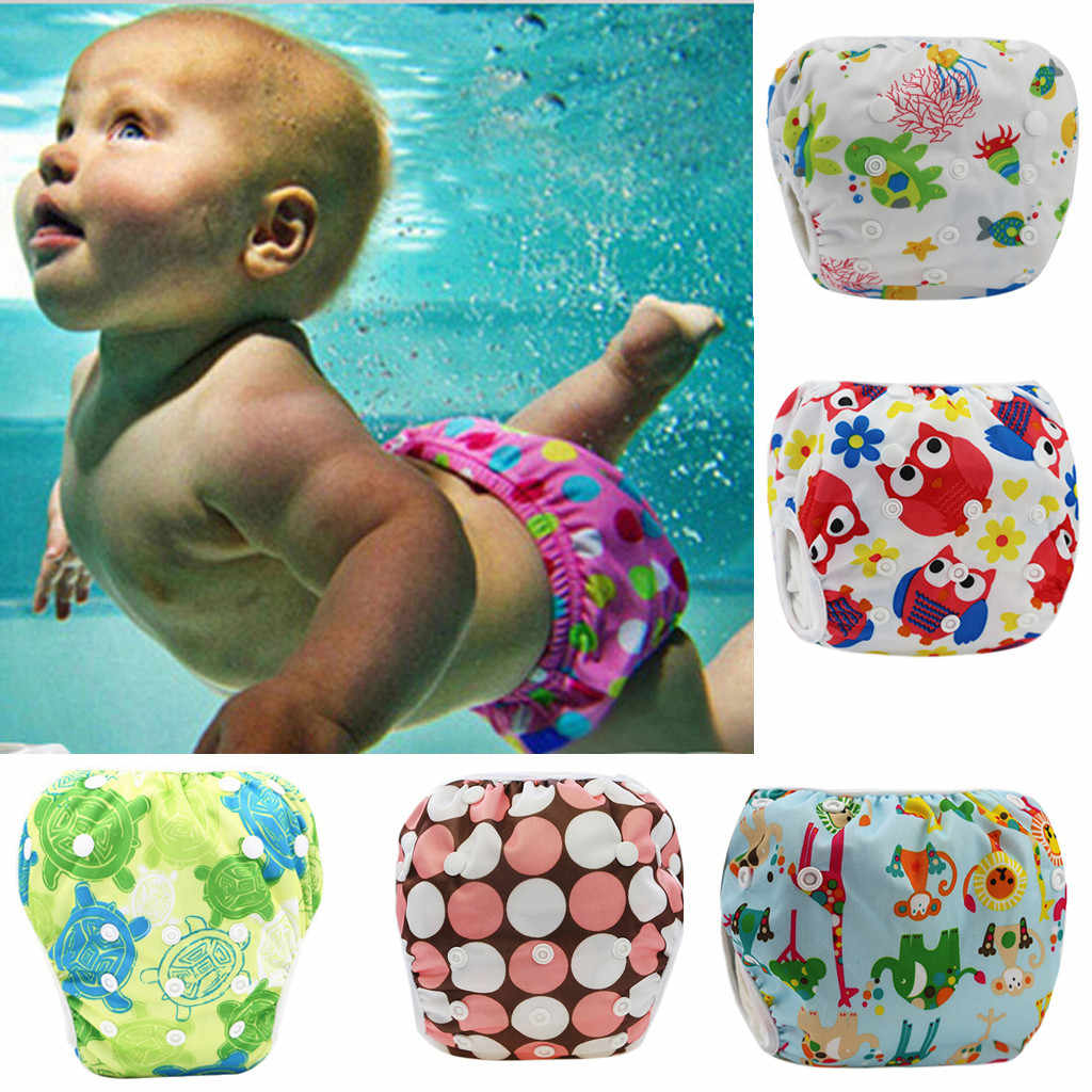 Cute Baby Waterproof Swim Diapers Pool Pants Unisex Adjustable Baby Swim Diaper Pant One Size Breathable Cover Suit for 3-15KG
