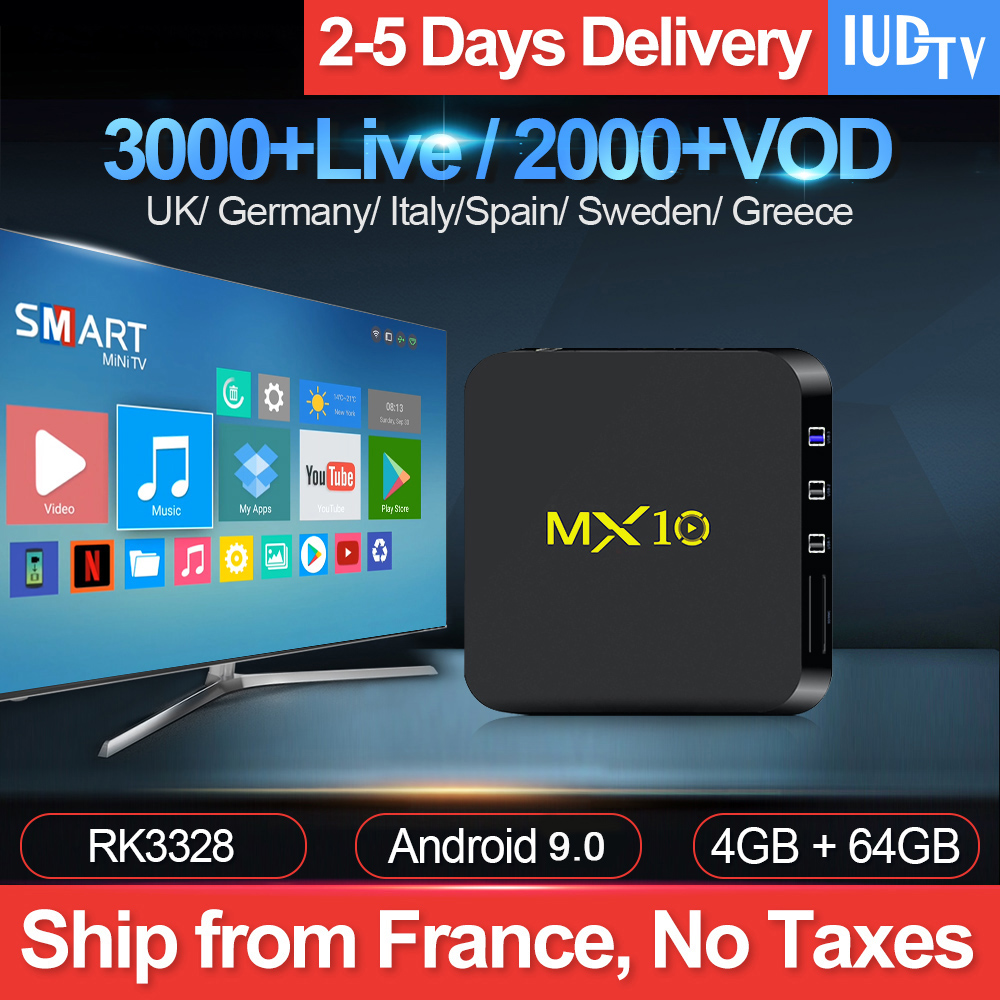 MX10 IPTV Sweden Subscription Box Android 9 0 4G 64G USB3 0 RK3328 with IUDTV 1