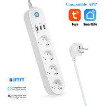 WiFi Smart Power Strip Presa di Controllo Vocale Multi Spina Timer Interruttore di Alimentazione Striscia App Controllo Remoto Tramite Smartphone Compresse