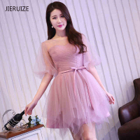 JIERUIZE robes de coctel Rose Tulle Puffy Manches Courtes Robes de Cocktail Pas Cher Court Prom Party Robes robe de cocktail