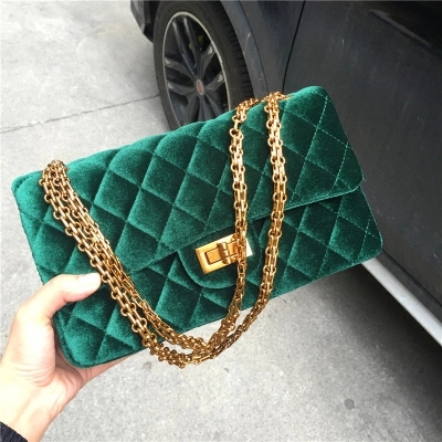Women's Velvet Handbag Messenger Bag lady Contracted Cross body Shoulder Bags big Casual Satchel Purses Tote quilted chain bag dark green velvet twistlock closure quilted chain bag