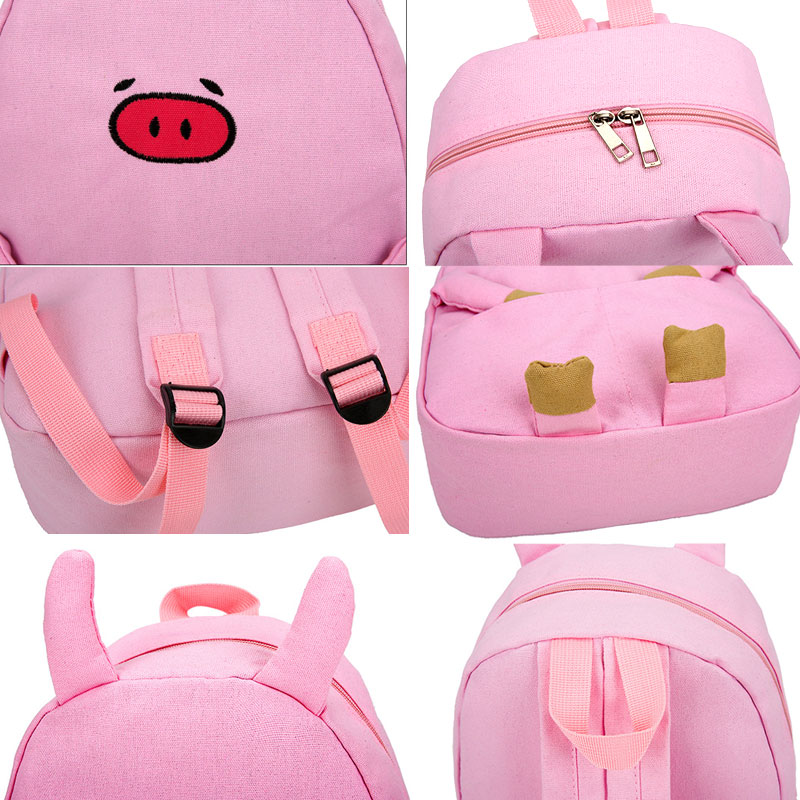 Casual Backpack Schoolbags Canvas Women Adorable Cartoon for 1pc Piggy Hot-Selling