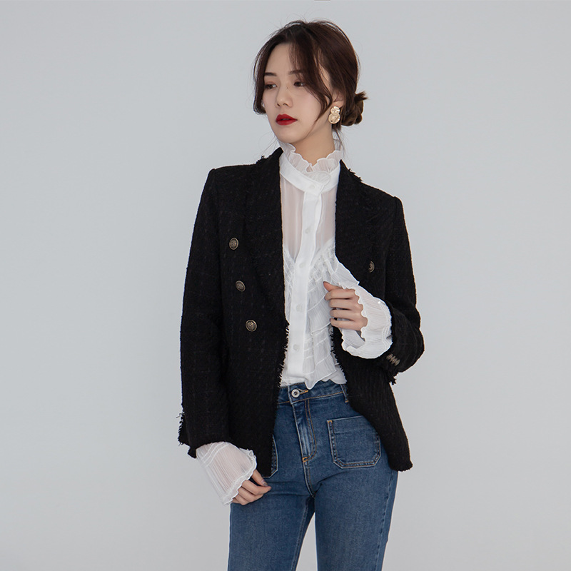 Women's Clothes Spring Retro Tweed Wool Trim Jacket Double Breasted Woman Clothes black Women Coat and Jackets 2019