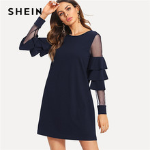 7ecb81e43a43 SHEIN Navy Office Lady Solid Ruffle Mesh Insert Tiered Layered Bell Sleeve  Dress 2018 Autumn Fashion Elegant Women Dresses