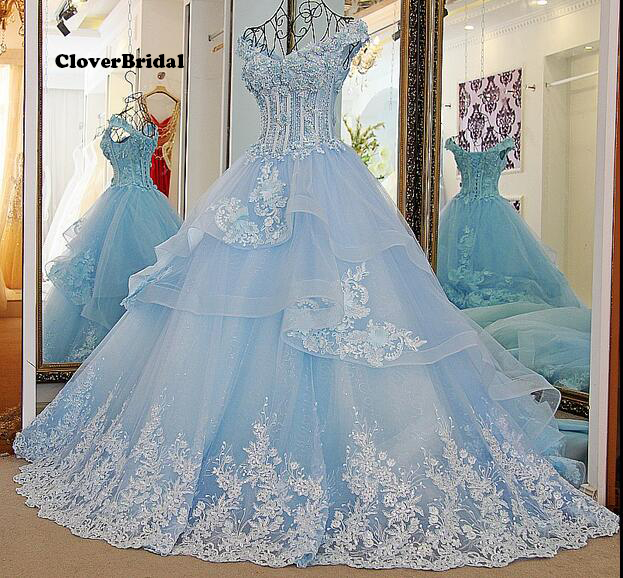 Winter 2016 offer the shoulder romantic lace appliues tulle blue bridal gown with 1 meter train