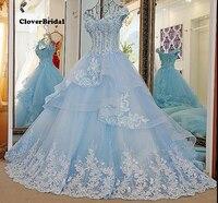 Зима 2016, предложение, романтическая Кружевная аппликация, фатиновое синее свадебное платье с 1 метровым шлейфом, белые кристаллы, v образный