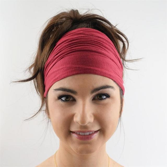 Unisex Cotton Elastic Plain Head Wrap Scarf Sport Yoga Headband Girls Twist  Knotted Hair Band Bandana Hair accessories 9fd2b707c58