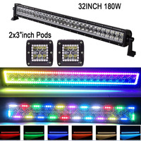 180W 32 LED Work Light Bar Combo + 2pcs 24W 3X3 Cube Pods w/ MultiColor RGB Halo Ring Changing Chasing Flashing Modes Offroad