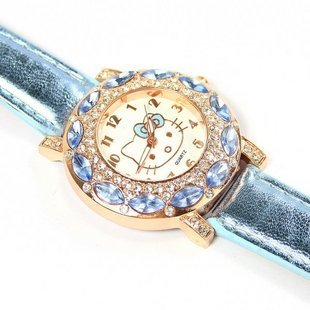 Hot Sales Lovely Hello Kitty Watches Children Girls Women Fashion Crystal Dress Quartz Wristwatches Relojes Mujer