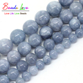"Free Shipping Natural Stone Angelite Loose Spacer Beads 6 8 10 12mm Strand 15"" For Jewelry Making-F00270"
