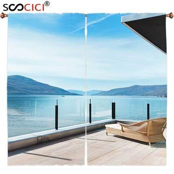 Window Curtains Treatments 2 Panels,Patio Decor Penthouse Terrace with Ocean Sea and Mountain Landscape Photo Sky Blue Black