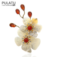 PULATU Original Handmade Shell Flower Brooches Fashion Jewelry Pendant Natural Stone Brooch Pins Women Coat Scarf Accessories
