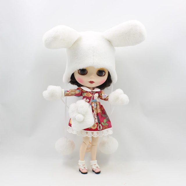 Neo Blythe Doll Rabbit Hat With Bag & Gloves