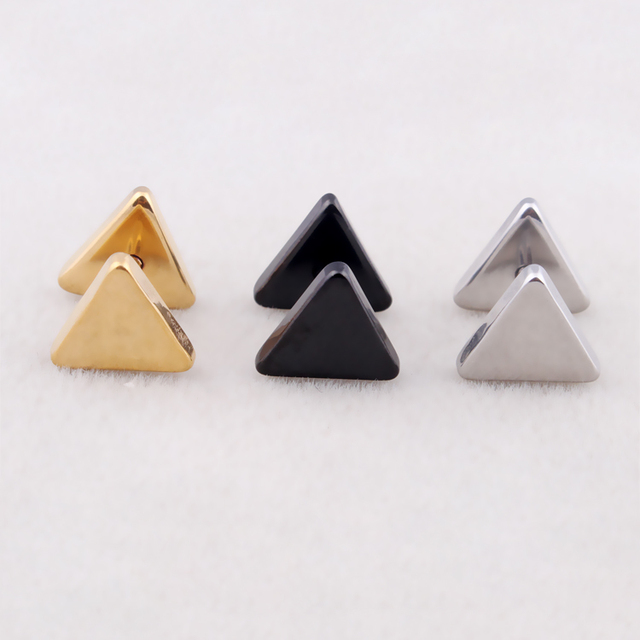 Hot Women Men Triangle Ear Studs Silver Gold Black Stainless Steel Geometric Barbell Stud