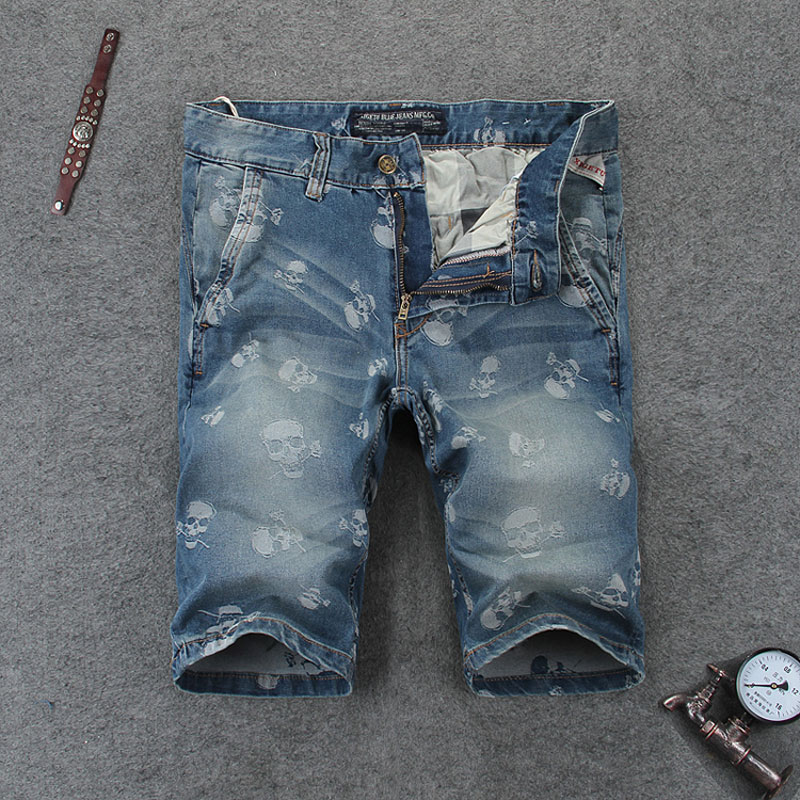 Summer Style Fashion Mens Jeans Shorts Skulls Printed Jeans For Men Denim Beach Shorts Brand Streetwear Casual Short Jeans RL107