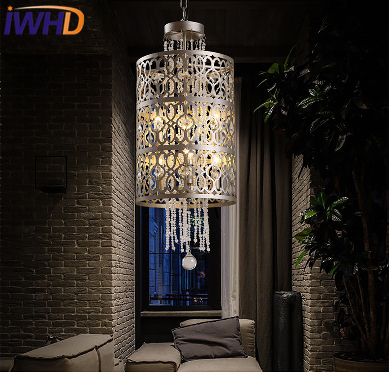 IWHD Crystal Vintage Retro Industrial Lighting Pendant Lights Living Room Hanging Lamp Iron Hanglamp Stair Suspension Luminaire iwhd gold iron style loft industrial vintage pendant lights retro birdcage hanging lamp kitchen dining room luminaire suspendu