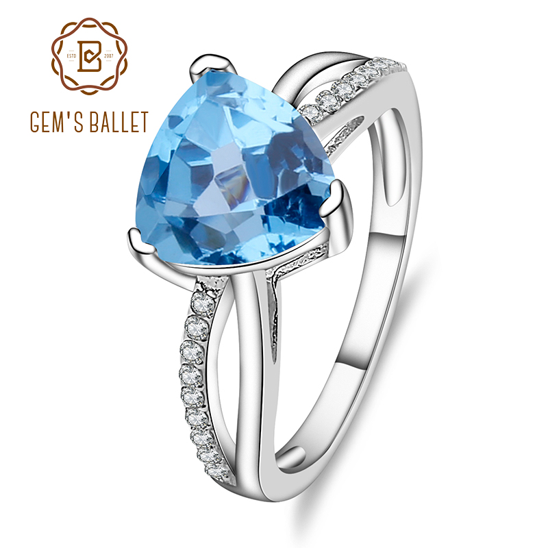 Ring Gem's Ballet 100% 925 Sterling Silver Natural Gemstone Triangle Swiss Blue Topaz Fine Jewelry For Women Wedding Engagement