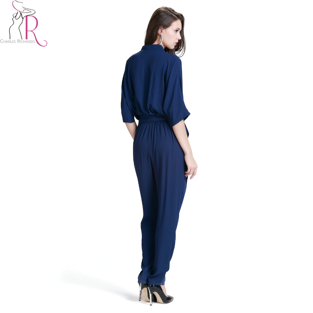 cb481e12e3f Navy Blue V Neck Wrap Tie Waist Jumpsuit Women Half Sleeve Pockets Side  Office Ladies Autumn Casual Full Length Romper-in Jumpsuits from Women s  Clothing on ...