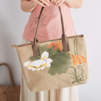 3 pieces/lot high quality tote jute bag with handles for women