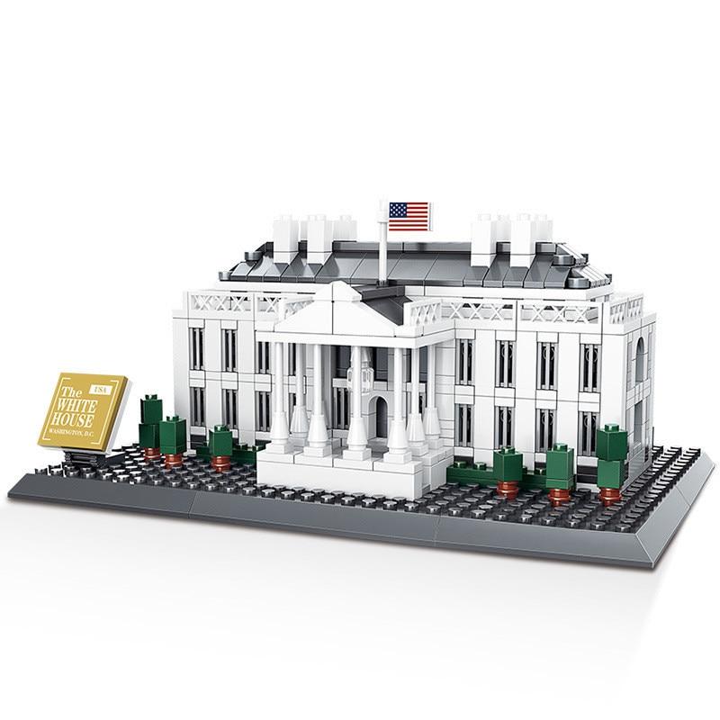 771 Pcs Architecture Series United States White House Building Blocks Sets Bricks Classic City Skyline Model Kids Toys
