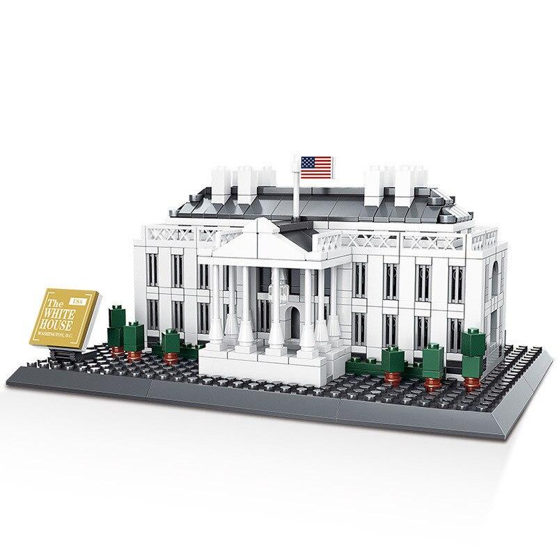 WANGE L'architecture USA Blanc Maison Blocs Ensembles Ville Briques Classique Skyline Modèle Enfants Cadeau Jouets Compatible Legoings