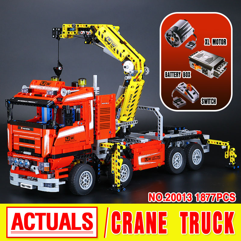 2016 New LEPIN 20013 1877Pcs Technic Series Crane Truck Wrecker Model Building Kits  Blocks Bricks Toys Gift With 8258 new lepin 22001 pirate ship imperial warships model building kits block briks toys gift 1717pcs