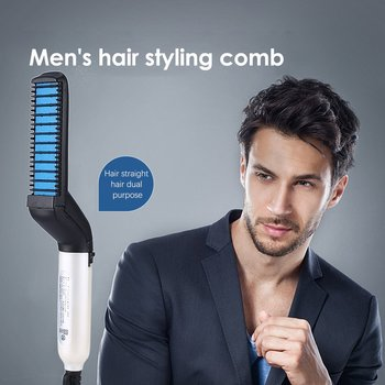 Fashion Multifunctional Hair Comb Quick Beard Straightener Curling Curler Show Cap Men Beauty Hair Styling Tool Straightening Iron