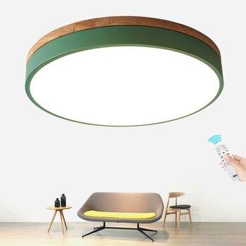 الحديثة معكرون Led السقف ضوء سوبر رقيقة 6 سنتيمتر خشب متين عن بعد يعتم مصباح السقف لغرفة المعيشة غرفة نوم المطبخ الإضاءة