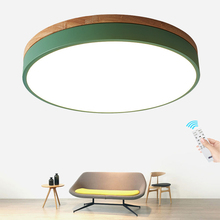 Modern Macaron Led Ceiling Light Super Thin 6cm Solid wood Remote dimming Lamp for living room Bedroom Kitchen Lighting