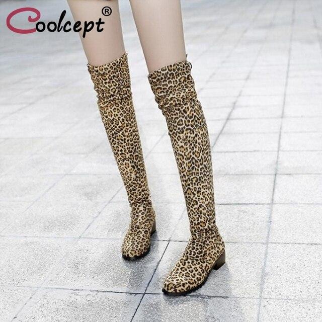Coolcept Mulheres Sexy de Salto Alto Botas Lace Up Leapord Rebanho De Couro Sobre As Botas Do Joelho Club Party Shoes Calçados Femininos Tamanho 34-43