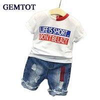 Retail 2016 Summer New Boys Mickey Clothing Sets Children Cartoon Cotton Short Sleeve T Shirt Jeans
