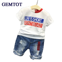 Retail 2016 Summer New Boys Mickey Clothing Sets Children Cartoon Cotton Short Sleeve T Shirt Jeans