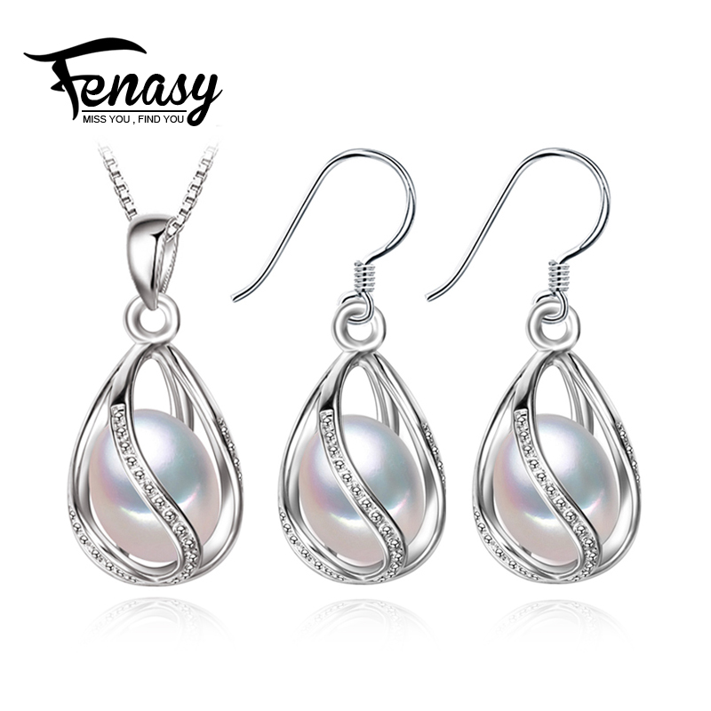 FENASY Pearl Jewelry Set,natural Pearl Pendant Necklace and stud Earrings,Natural earrings for love,wedding jewelry for women