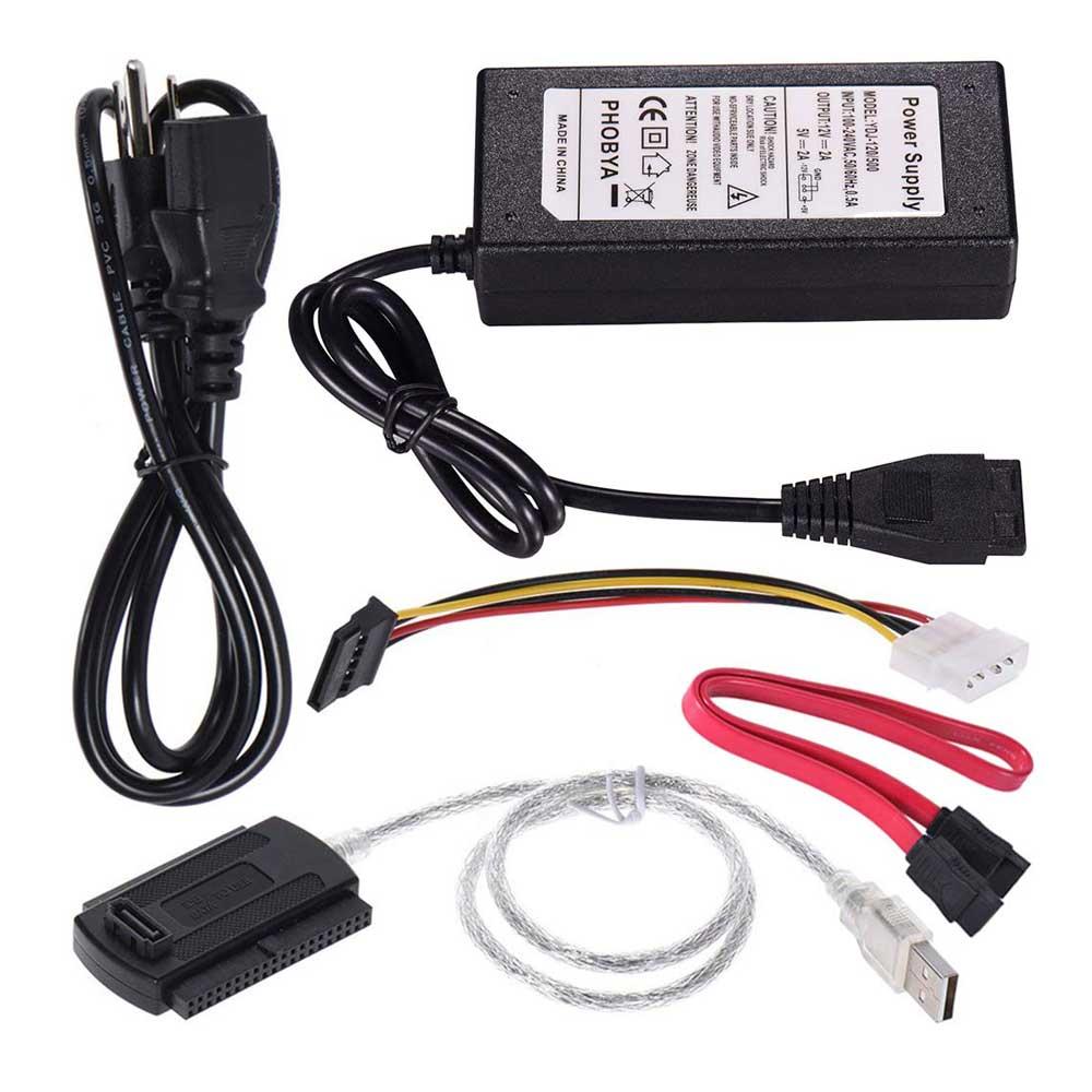"""USB 2.0 to IDE SATA ATA ATAPI 2.5/"""" 3.5/"""" HD HDD Converter Cable Adapter w//Power"""