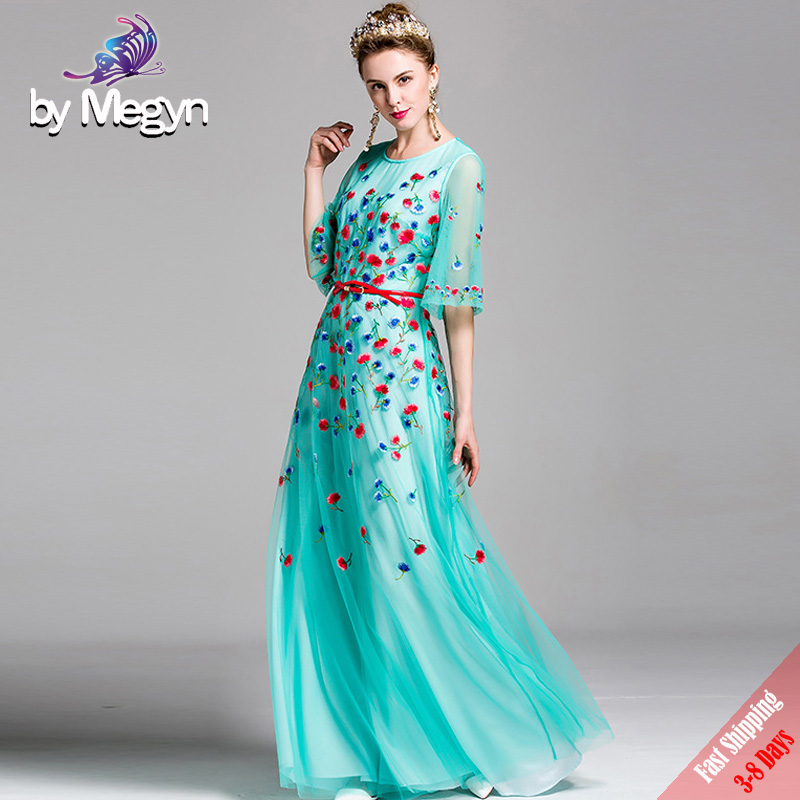 Runway Designer Luxury Long Dress Women s Brand Vintage Floral Embroided  Blue Mesh Maxi Dresses With Red df7520b77aa0