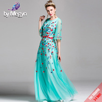 Runway Designer Luxury Long Dress Women's Brand Vintage Floral Embroided Blue Mesh Maxi Dresses With Red Sashes 2019 Express