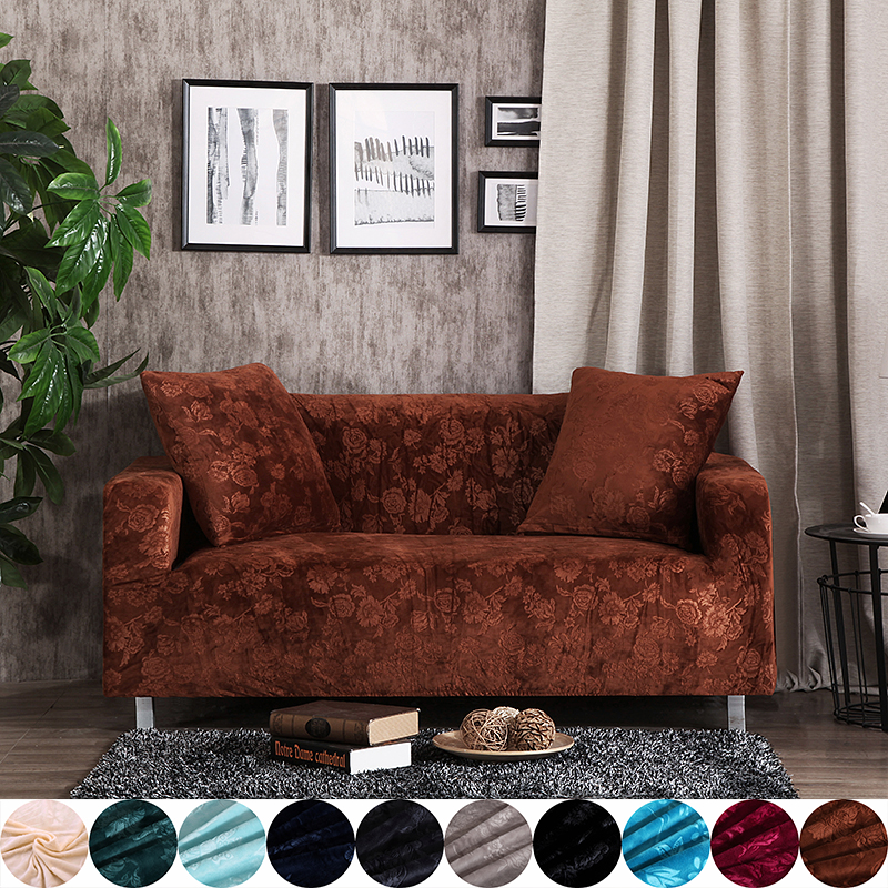 US $26.61 59% OFF|Brown sofa seat cushion cover solid color stretch  furniture covers for living room polyester elastic FULL sofa cover plush-in  Sofa ...