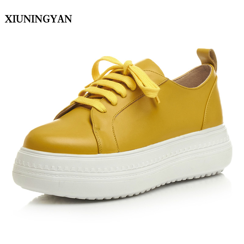 XIUNINGYAN 2018 Fashion Round Toe Genuine Leather Leisure Women Flat Loafers Female Casual Shoes Lace-up Womens Flats Platform spring autumn women shoes genuine leather flats loafers flat platform casual fashion round toe slip on mesh transparent flower