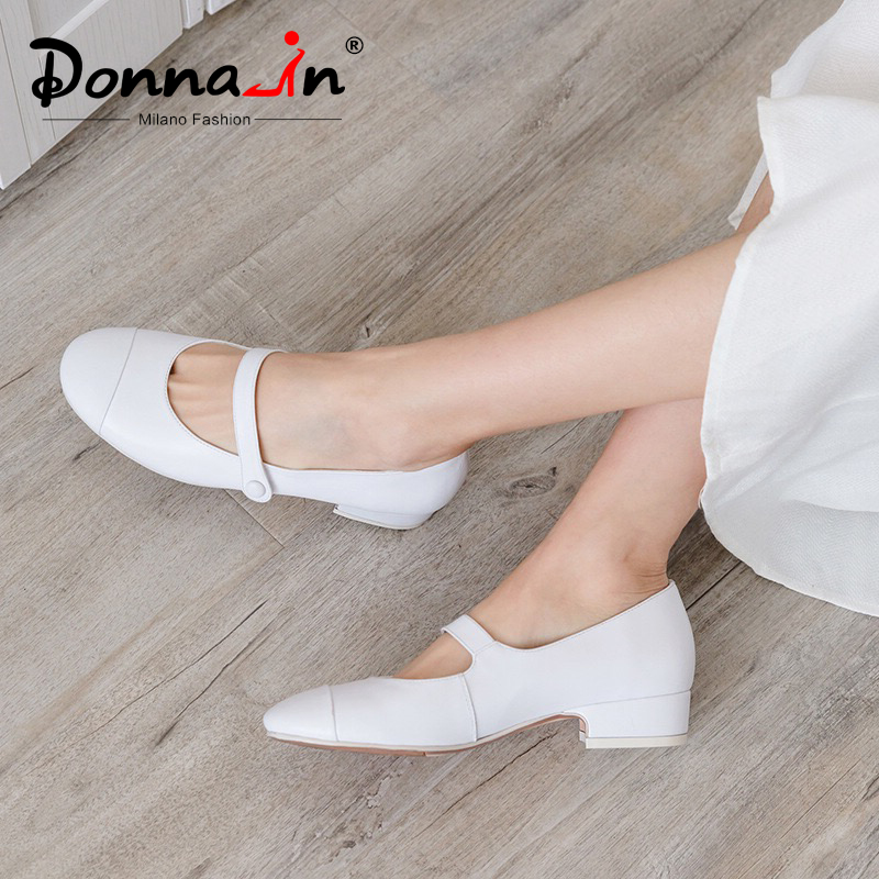 Donna in Mary Janes Women Shoes Low Heels Pumps Silver Black White Genuine Leather Round Toe