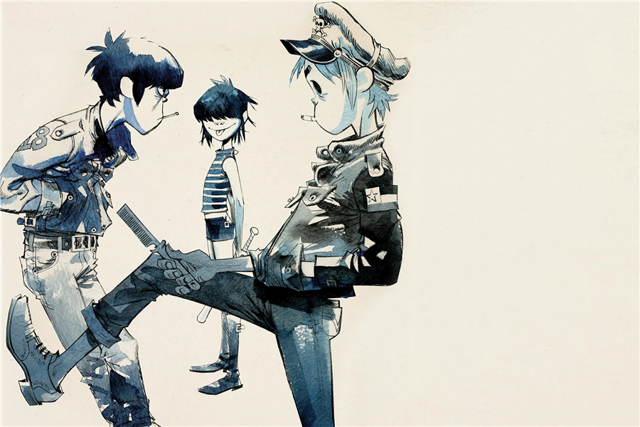 Custom Canvas Art Gorillaz Poster Gorillaz Music Band Wall Stickers Noodle Wallpaper Russel