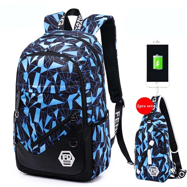 Waterproof Oxford Fabric Children School Bags Kids Backpack For Agers Pencil Case Blue Book Bag Boy