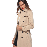 2018 Woman Classic Double Breasted Trench Coat Waterproof Raincoat Business Outerwear Khaki Autumn Trench