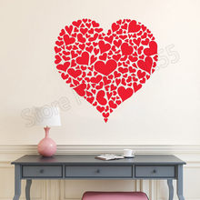 Valentine's Day Heart of Hearts Sticker Decal Heart Shaped Love Wall Stickers For Girl Rooms Store Window Vinyl Home DecorZW283 day of the dead girl skull head vinyl wall decal sticker