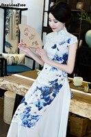 2019 summer asian clothing ao dai vietnam traditional qipao women chinese dress chinoise modern cheongsam flower print aodai