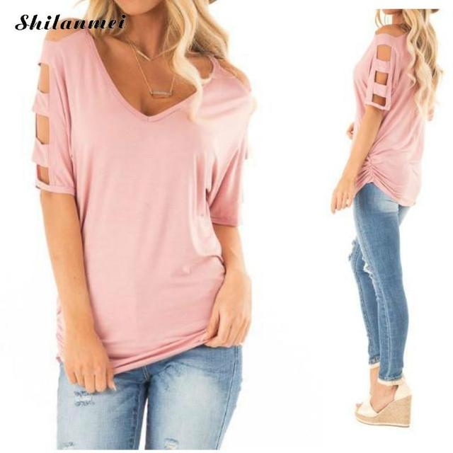5350b74a6145 Summer T Shirt Women Causal Basic Tops 2019 New Hollow Out V Neck Tee Shirt  Cold Shoulder Loose Slim Blusas Women T Shirt Tops