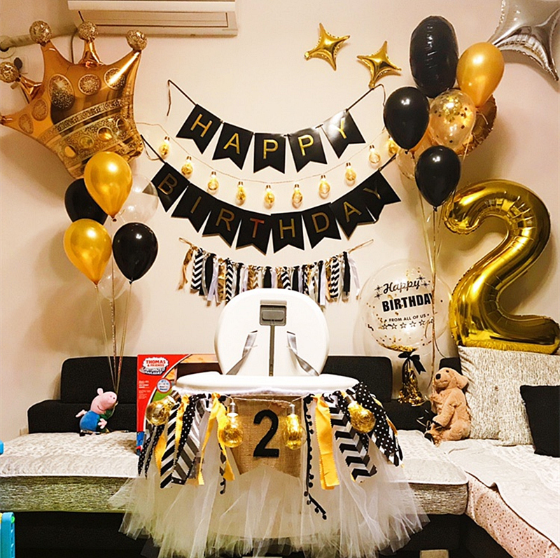 Black Gold Happy Birthday Banner Balloons With Helium Number Foil Balloon for Baby Party Decorations 17