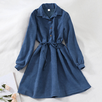 Winter Spring Women Dress Turn Down Collar Long Sleeve High Waist Mori Girl 5 Solid Colors Vintage Casual Shirt Dresses