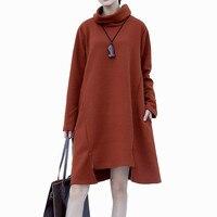 Ladies Oversized Turtle Neck Irregular knitting Cotton Jersey Jumper Dress Blanket Tunics Winter fashion Long Sleeve Pullover