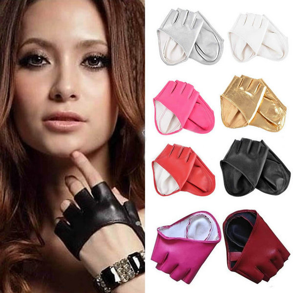 Fashion Half Finger PU Leather Gloves Ladys Fingerless Driving Show Gloves